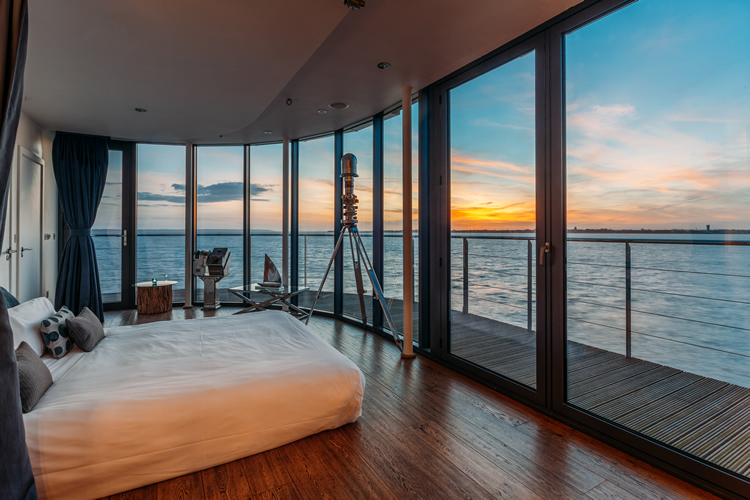 Solent Forts sunset bedroom and view