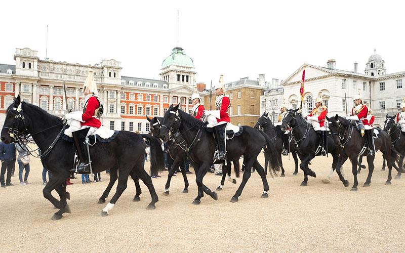 Changing of The Guard ceremony at Horse Guards Parade near Whitehall